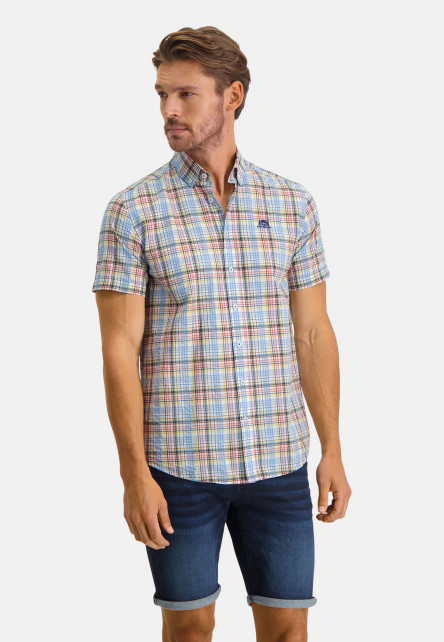 Shirt-Short-Sleeve-Checked---light-yellow/emerald-green