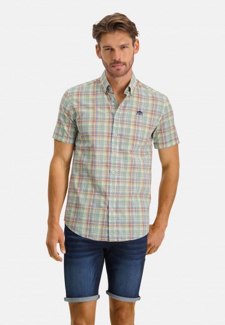 Shirt-Short-Sleeve-Checked---pink/dark-green