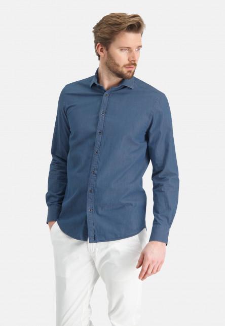 Cotton-shirt-with-print---grey-blue-plain