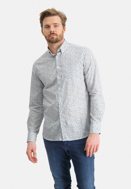Shirt-with-an-all-over-print---emerald-green/grey-blue