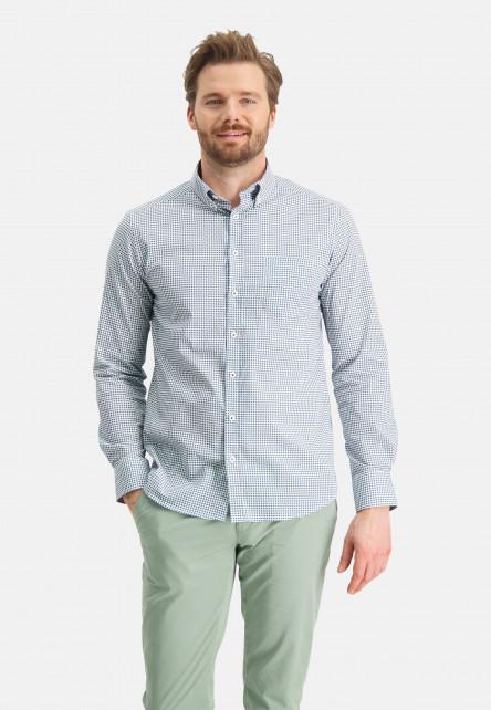 Poplin-shirt-with-a-graphic-print---emerald-green/grey-blue