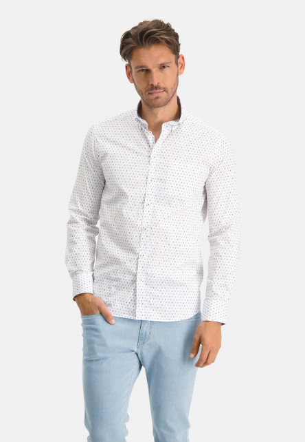 Cotton-shirt-with-regular-fit---mango/grey-blue
