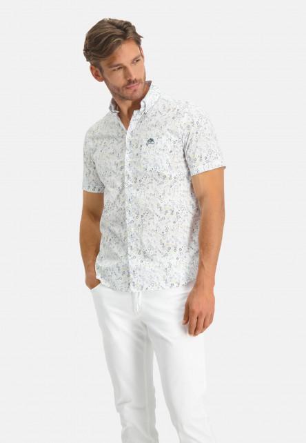 Shirt-SS-Printed-Poplin---Ref-LS-11260---dunkelgrün/hellgelb