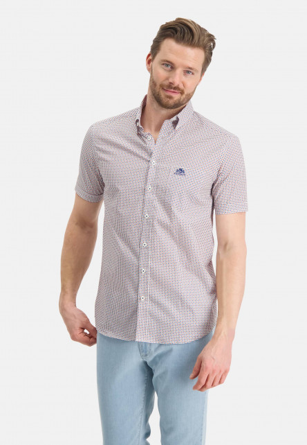 Poplin-shirt-with-a-graphic-print---brick/cobalt