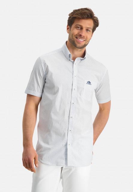 Button-down-shirt-with-short-sleeve---cobalt/mid-blue