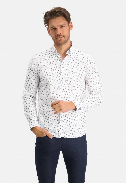 Shirt-with-a-bird-print---mango/grey-blue