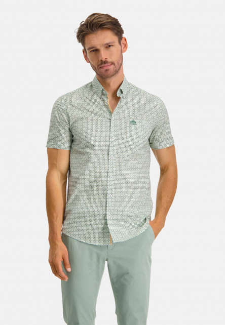 Short-sleeve-shirt-with-chest-logo---dark-green/sulphur