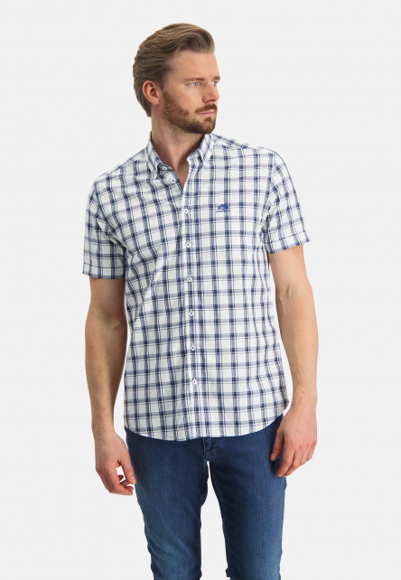Cotton-shirt-with-short-sleeve---white/cobalt