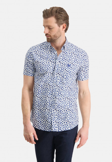 Cotton-shirt-with-short-sleeve---cobalt/white