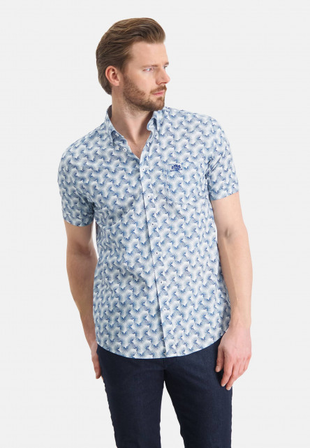 Shirt-with-a-chest-pocket---cobalt/white