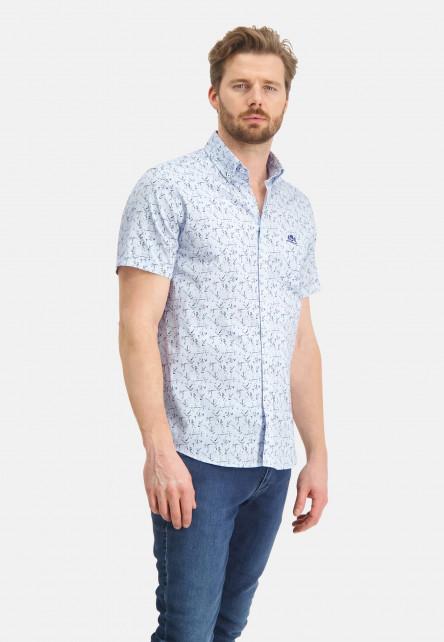 Shirt-with-a-botanic-print---light-blue/emerald-green