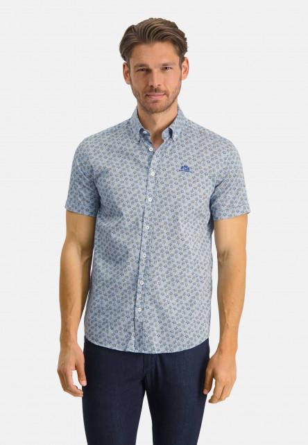 Shirt-made-of-stretch-cotton---cobalt/mango