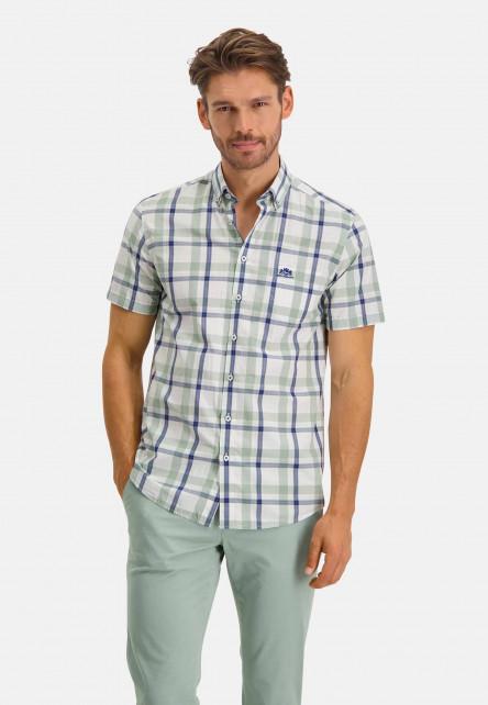 Shirt-Short-Sleeve-Checked---emerald-green/cobalt