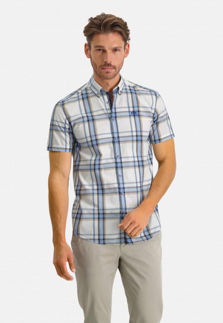 Shirt-Short-Sleeve-Checked---cobalt/sand