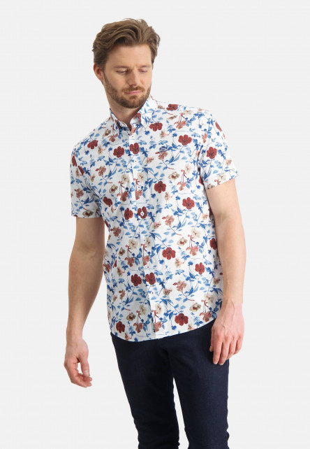 Shirt-with-a-floral-print---brick/sand