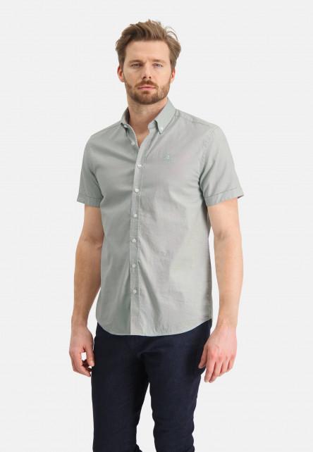 Oxford-shirt-of-stretch-cotton---emerald-green/white