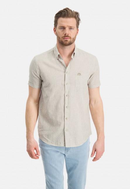 Short-sleeve-shirt-with-stripes---sand/white