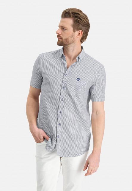 Short-sleeve-shirt-with-stripes---cobalt/white