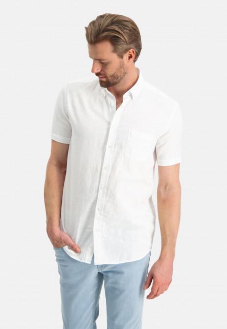 Shirt-plain-of-a-linen-blend---white-plain