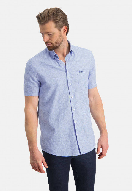 Shirt-plain-of-a-linen-blend---white/grey-blue