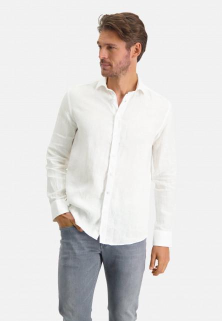 Linen-shirt-with-a-medium-cut-away---white-plain