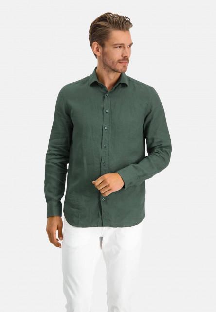 Linen-shirt-with-a-medium-cut-away---dark-green-plain