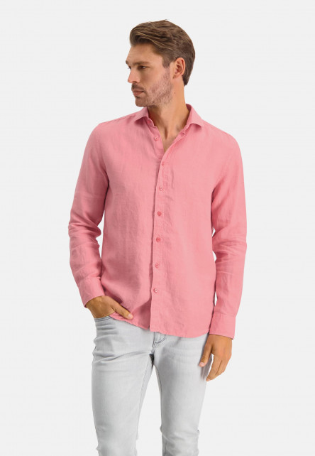 Linen-shirt-with-a-medium-cut-away---pink-plain