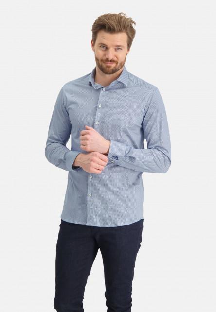 Hemd,-regular-fit,-Cutaway---weiß/kobalt
