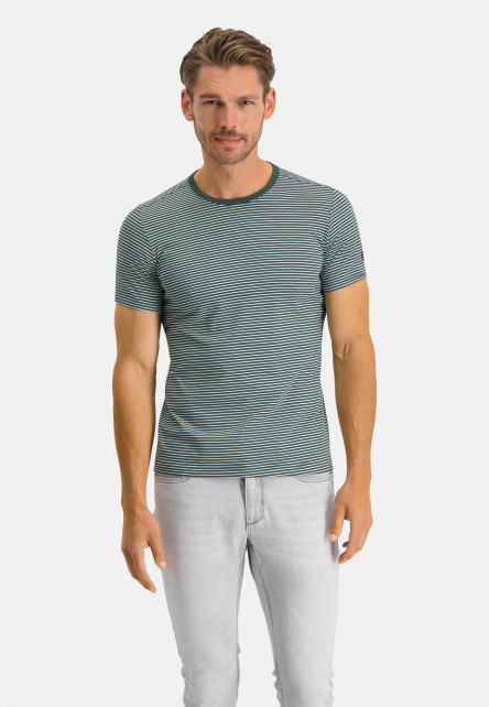 T-Shirt-Crew-Neck-Striped---dark-green/white