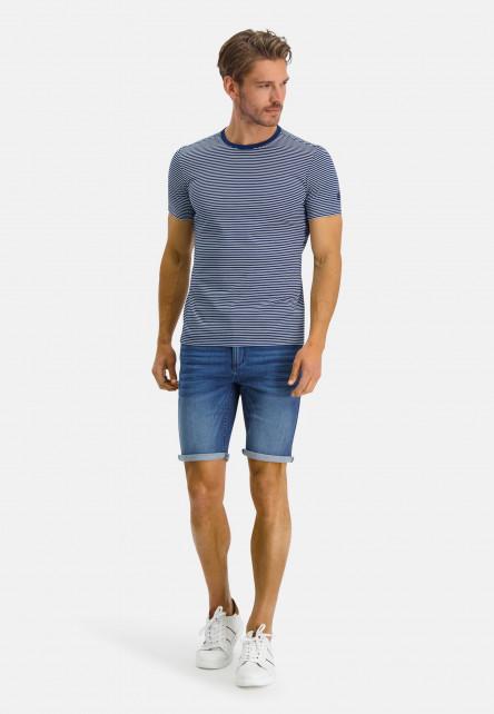 T-Shirt-Crew-Neck-Striped---cobalt/white