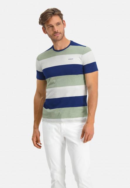 T-Shirt-Crew-Neck-Striped---cobalt/emerald-green