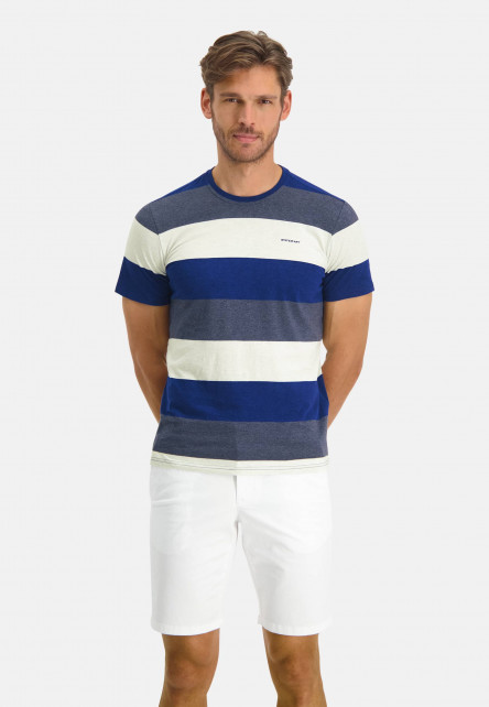 T-Shirt-Crew-Neck-Striped---cobalt/midnight