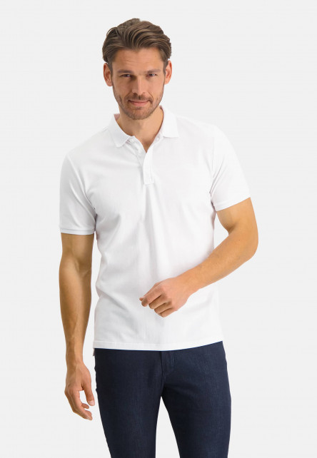 Polo-pique-with-regular-fit---white-plain