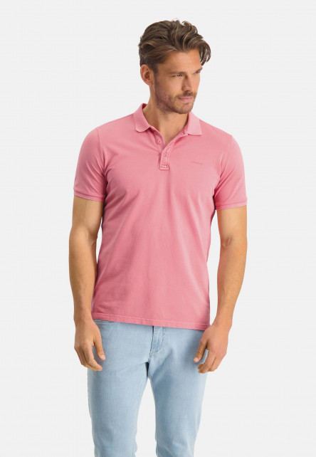 Polo-pique-with-regular-fit---pink-plain