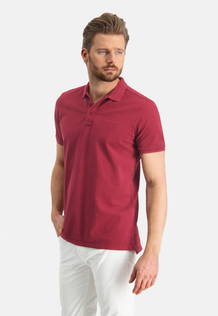 Polo-pique-with-regular-fit---wine-red-plain