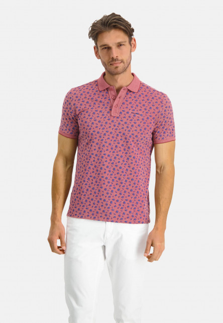 Polo-made-of-organic-cotton-with-a-brand-logo---wine-red/pink