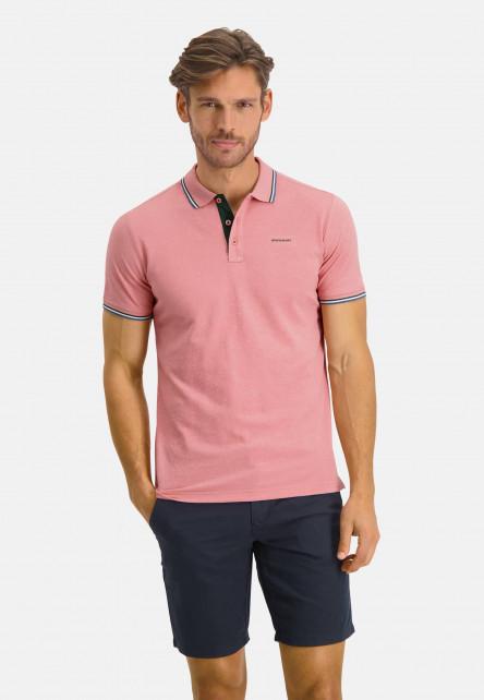 Poloshirt-Pique-Short-Sleeve-Plain---pink/dark-green