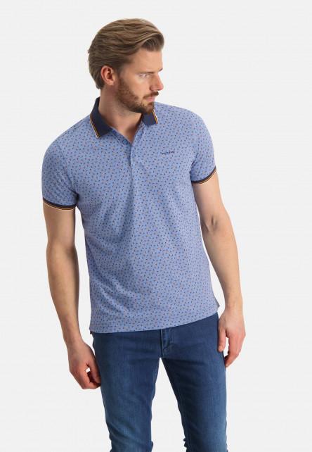 Jersey-polo-of-organic-cotton---grey-blue/midnight