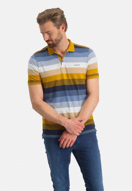 Striped-polo-of-organic-cotton---mango/grey-blue