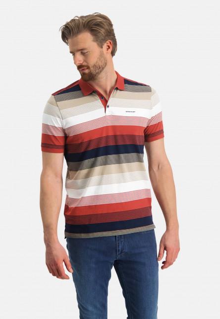 Striped-polo-of-organic-cotton---brick/sand