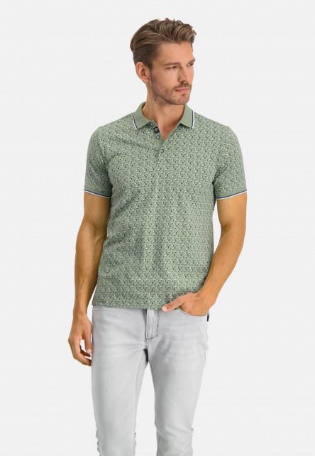 Poloshirt,-Jersey,-kurzarm,-Druck---blattgrün/kobalt