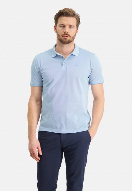 Polo-made-of-mercerized-cotton---grey-blue/white