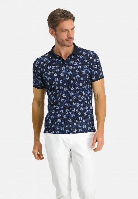 Poloshirt-Pique-Short-Sleeve-Print---midnight/cobalt