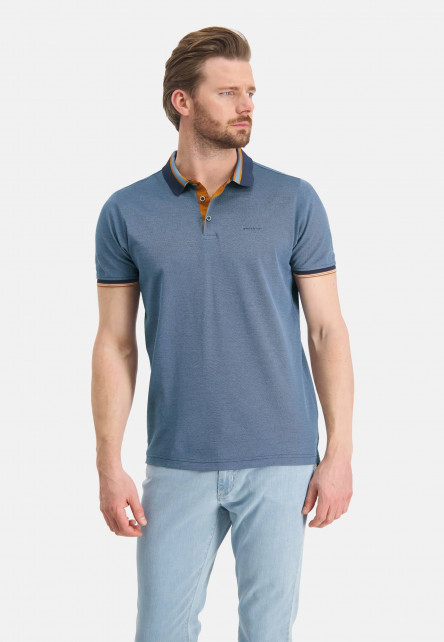 Polo-pique-of-mercerized-cotton---midnight/grey-blue