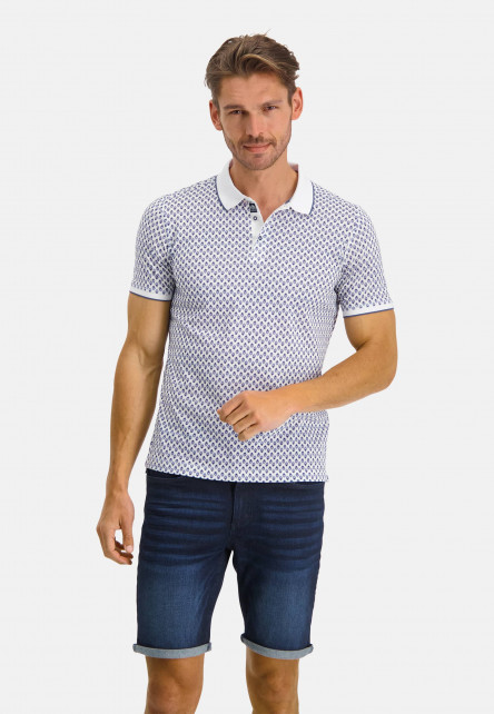 Polo-with-an-all-over-print---white/cobalt