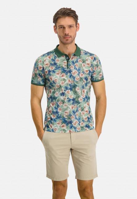 Poloshirt-Pique-Short-Sleeve-Print---dark-green/pink