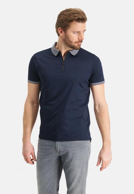 Polo-with-zipper-closure---dark-blue-plain