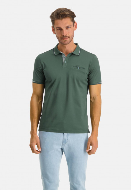Polo-of-mercerized-cotton---dark-green-plain