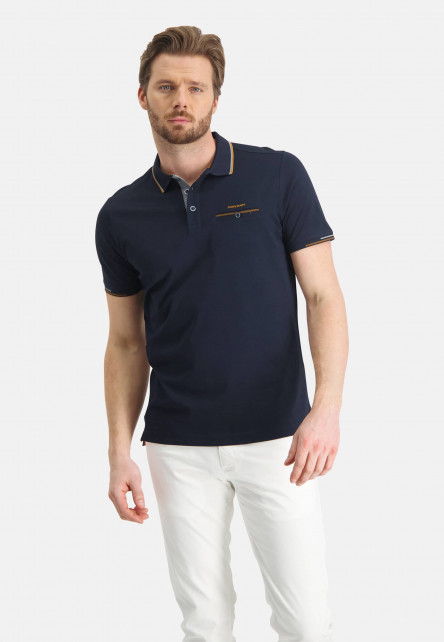 Polo-of-mercerized-cotton---dark-blue-plain
