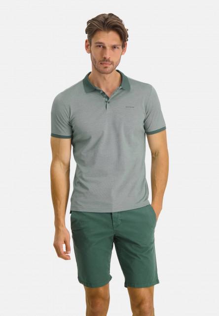 Polo-of-mercerized-cotton---emerald-green/greige
